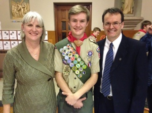 Parishioner Nick Gantz with his mom and dad after the ceremony.